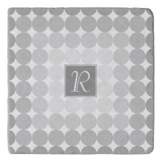 Modern Gray Circles Monogram Trivet