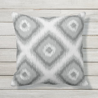 Modern Gray Diamond Squares Ikat Mosaic Pattern Throw Pillows