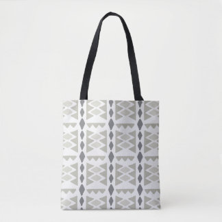 Modern Gray Ethnic Tribal Pattern | Tote
