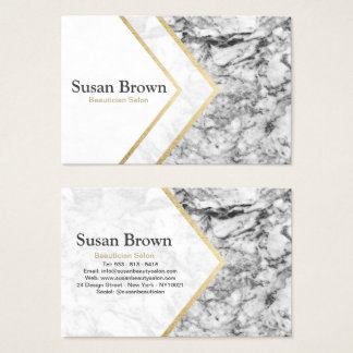 Modern gray faux gold marble Beautician Salon Business Card