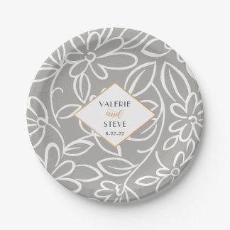 Modern gray floral wedding or bridal shower plate