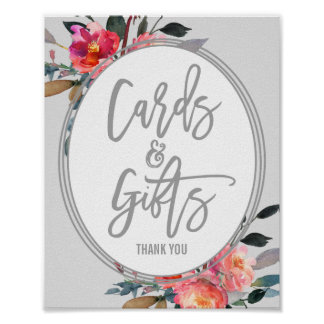 Modern Gray | Flower Wreath Cards and Gifts Sign