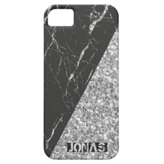 Modern Gray Glitter And Black Marble Case For The iPhone 5