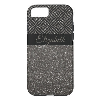 Modern Gray Glitter  Personalized iPhone 8/7 Case