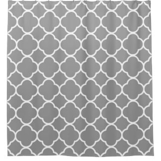 Modern Gray/Grey/White Quatrefoil Shower Curtain