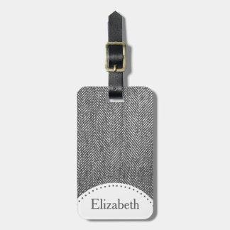 Modern Gray Herringbone & Name Luggage Tag