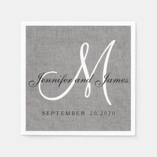 Modern Gray Linen Monogram Wedding Paper Napkins