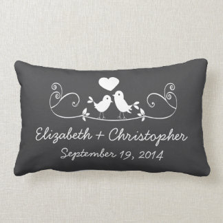 Modern Gray Love Birds Personalized Throw Pillow