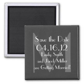 Modern Gray Monogram Save the Date Magnet