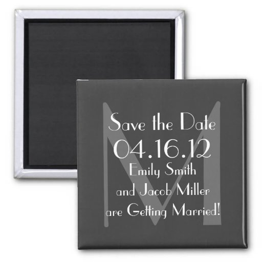 Modern Gray Monogram Save the Date Magnet