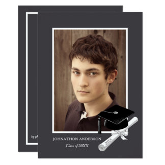 Modern Gray Photo Graduation Party Announcement