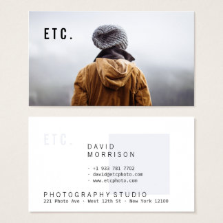 Modern gray professional photographer portfolio business card