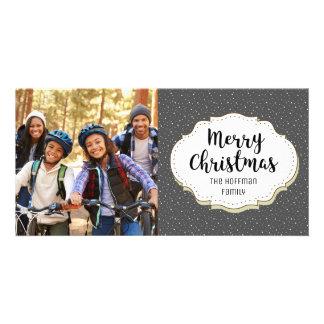 Modern Gray Snow Snowflakes Christmas Photo Card