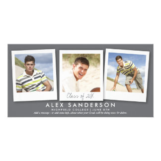 Modern Gray Triple Photo Graduation Announcement Personalized Photo Card