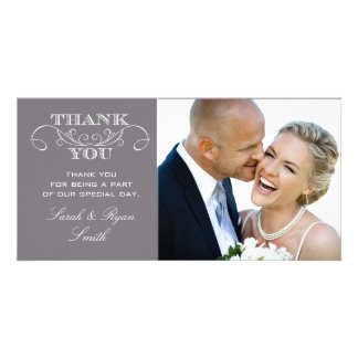 Modern Gray Wedding Photo Thank You Cards Picture Card