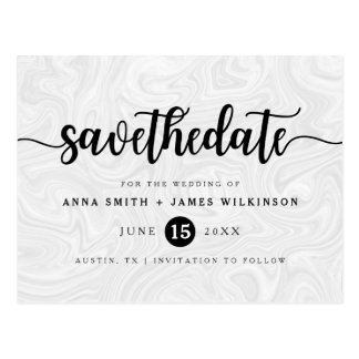 Modern Gray-White Liquid Marble Save The Date Postcard