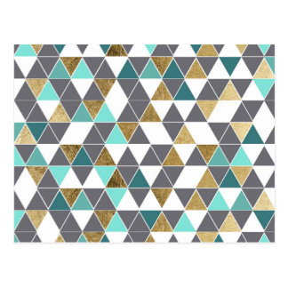 Modern Gray White Teal and Faux Gold Triangles Postcard