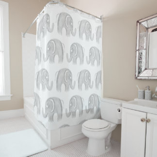 Modern gray white watercolor pastel cute elephant