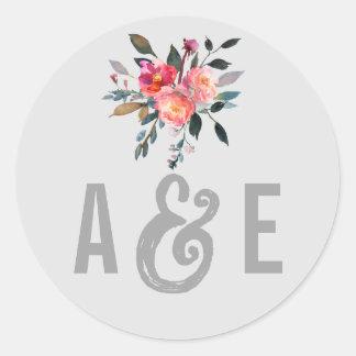 Modern Gray | Winter Flower Wedding Envelope Seals