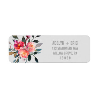 Modern Gray   Winter Flower Wedding Return Address Label