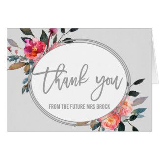 Modern Gray | Winter Flower Wreath Thank You Card