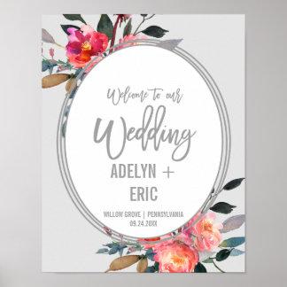 Modern Gray | Winter Flower Wreath Wedding Welcome Poster