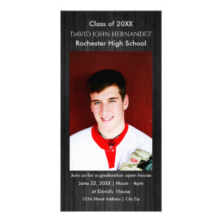 Modern Gray Wood Graduation Photo Card