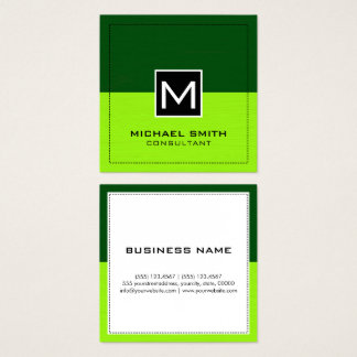 Modern Green and Lime Elegant Monogram Square Business Card