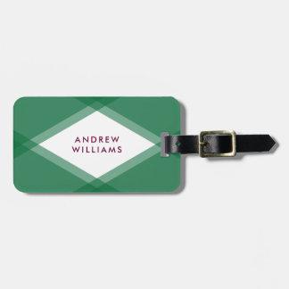 Modern Green and Purple Layered Geometric Luggage Tag