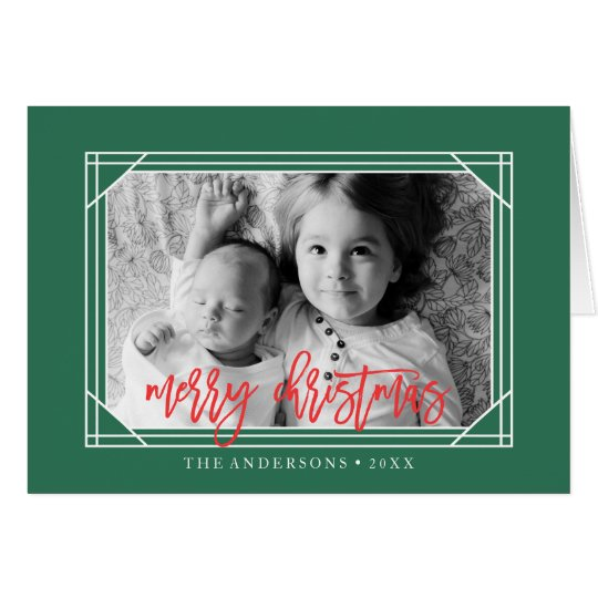 Modern Green and Red Art Deco Holiday Card