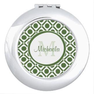 Modern Green and White Geometric Monogrammed Name Compact Mirrors
