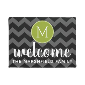 Modern Green Black Chevron Pattern Family Welcome Doormat