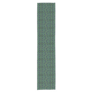 Modern Green Blue Geometric Pattern Short Table Runner