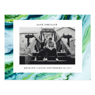 Modern Green Blue marble Photo  SAVE THE DATE Postcard