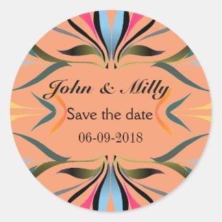 Modern green blue save the date wedding classic round sticker