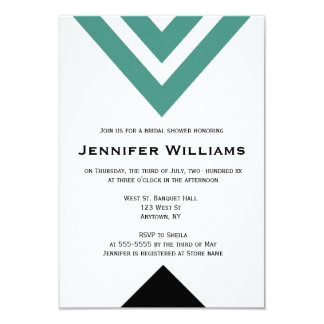 Modern green chevron bridal shower invitations