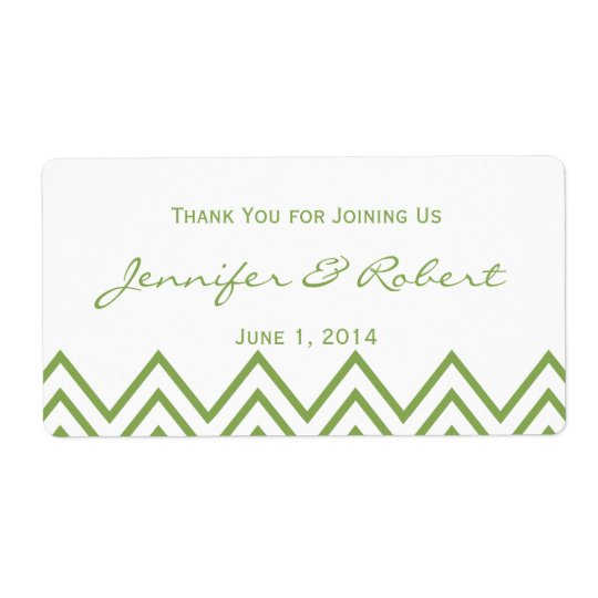 Modern Green Chevron Wedding Water Bottle Label