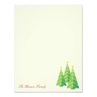 "Modern green Christmas trees cream thank you note 4.25"" X 5.5"" Invitation Card"