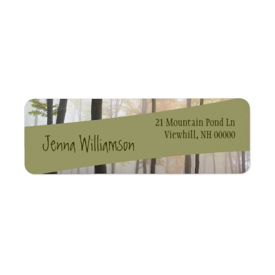 Modern Green Diagonal Ribbon on Misty Forest Return Address Label