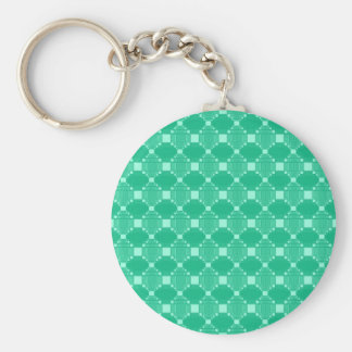 Modern Green Diamond And Squares Pattern Keychain