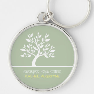 Modern Green Elegant Classy Tree Yoga Instructor Keychain