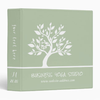 Modern Green Elegant Classy Tree YOGA Instructor Vinyl Binders