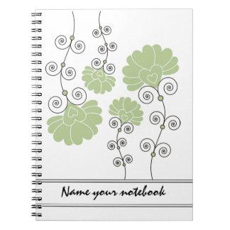 Modern Green Floral Designer Notebooks