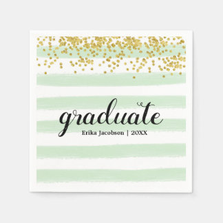 Modern Green & Gold Stripes Graduate Party Napkins