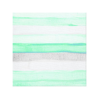 Modern green gray watercolor jute stripes pattern canvas print