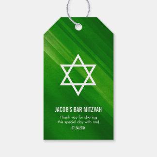 Modern Green Grunge Bar Mitzvah Gift Tags