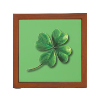 Modern Green Irish Shamrock Desk Organizer