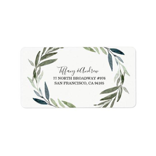 Modern Green Leaf Wreath Return Address Label