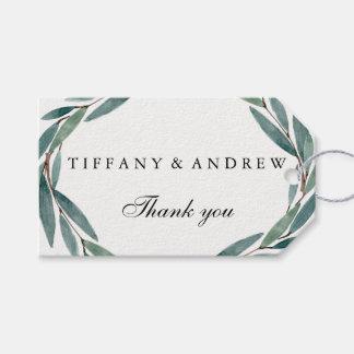 Modern Green Leaf Wreath Wedding Gift Favor Tag