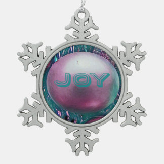 Modern Green Magenta Holiday Color Snowflake Snowflake Pewter Christmas Ornament